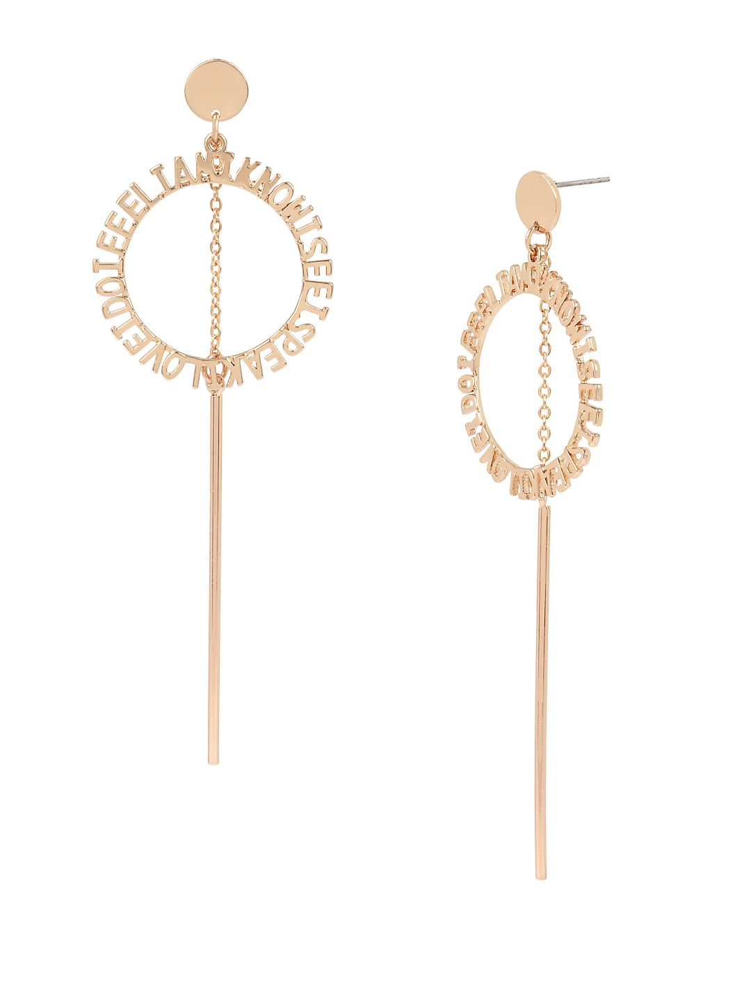 Affirmation Rose Goldtone Circle & Stick Drop Earrings