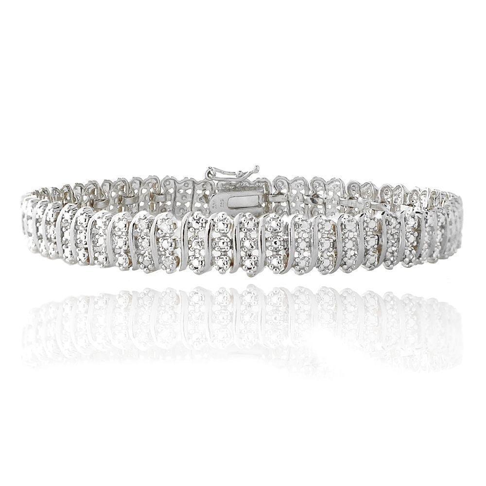 Women's 14K White Gold Finish Tennis Bracelet 1.33CT Diamond Link Bracelet, 5-10 Inch 7.0 Inches by