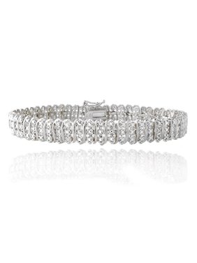 Women's 14K White Gold Finish Tennis Bracelet 1.33CT Diamond Link Bracelet, 5-10 Inch - 7.0 Inches