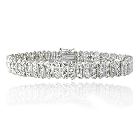 Baguette Diamond Tennis Bracelet - Women's 14K White Gold Finish Tennis Bracelet 1.33CT Diamond Link Bracelet, 5-10 Inch - 7.0 Inches