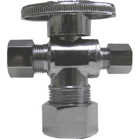 B & K Industries  Turn Chrome Plated Brass Angled Valve, 0.25 in. ()