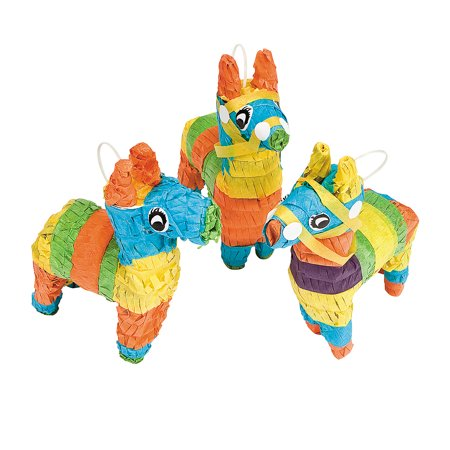 Fun Express - Mini Donkey Pinata Decorations (3pc) for Cinco de Mayo - Party Decor - General Decor - Pinatas - Cinco de Mayo - 3 - Piñata De Olaf