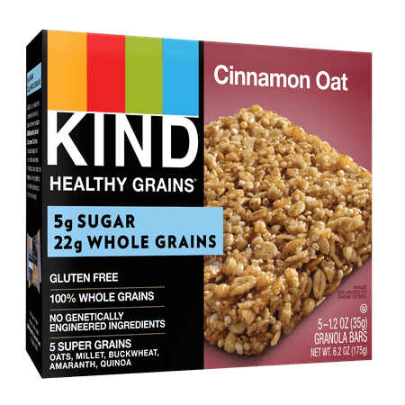 KIND Healthy Grains Granola Bar, Cinnamon Oat, 5 Bars, Gluten Free, Healthy Grains Bars 5g