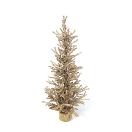 3' Champagne Gold Pine Artificial Christmas Twig Tree with Burlap Base - Unlit (Gold Twig Tree)