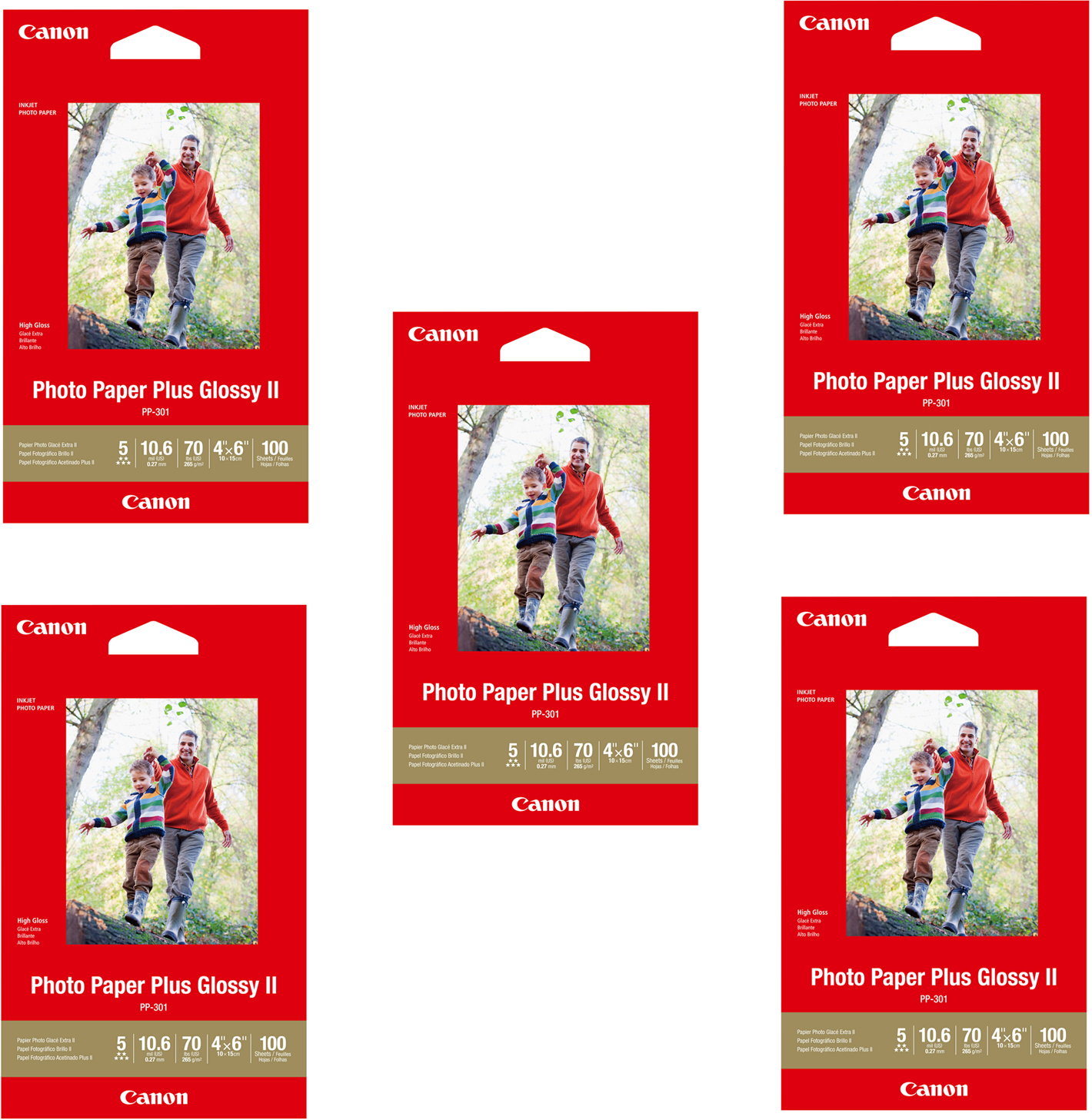 Canon Pp 301 4x6 Photo Paper Plus Glossy Ii Paper 5 Pack 100