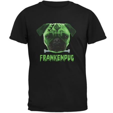 Halloween Franken Pug Dog Black Adult T-Shirt