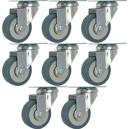 8 pack 2-Inch Heavy Duty Swivel Wheel Polyurethane Plate Caster No - Caster Swivel Plate No Brake
