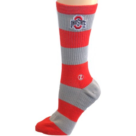 Ohio State Buckeyes Striped Acrylic - Ohio State Buckeyes Striped Mid Calf Socks (Lg/XL)