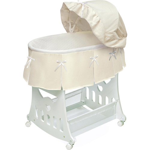 Badger Basket Portable Bassinet & Cradle with Toy Box Base, Cream Waffle Pleated by Genovation