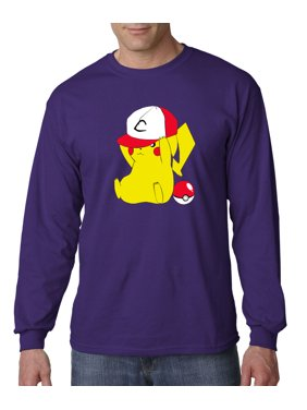 cbd43a72 Product Image New Way 522 - Unisex Long-Sleeve T-Shirt Pikachu Trainer Hat  Pokeball Pokemon