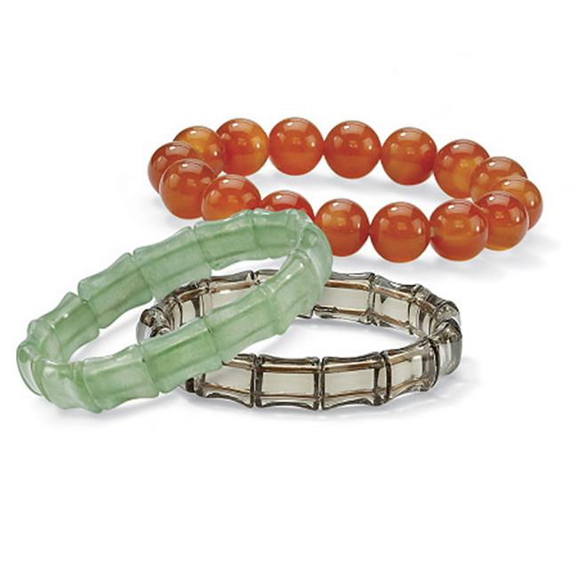 3 Piece Jade and Genuine Chalcedony Stretch Bracelet Set 7 in. by Special Sparkle