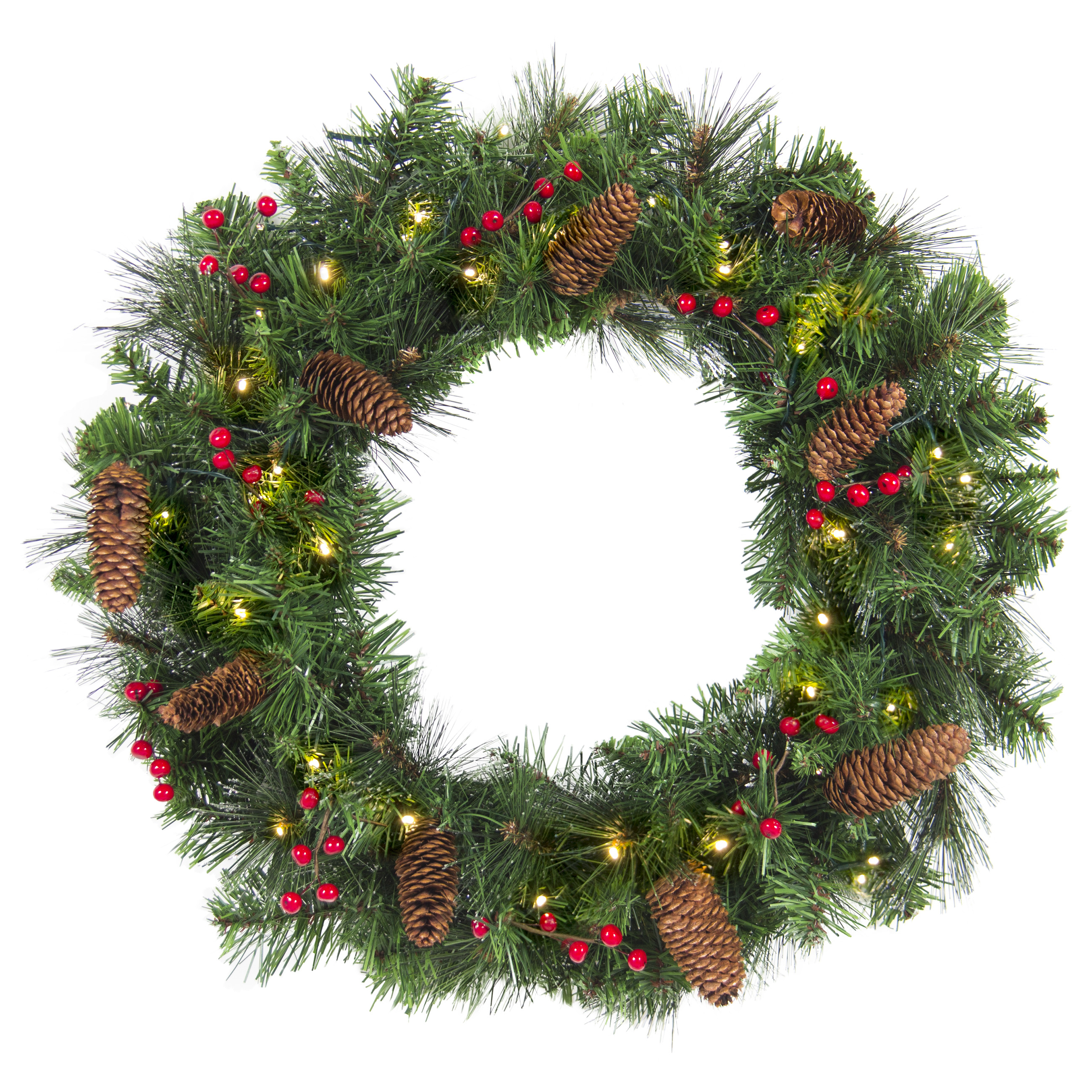 "Best Choice Products 24"" Spruce Christmas Wreath w/ 50 UL Certified Lights, Silver Bristles, Pine Cones, Red Berries"