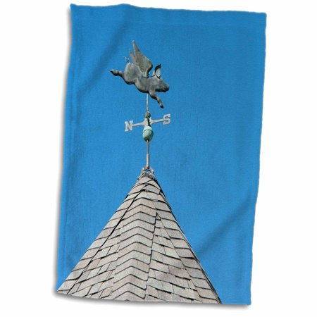 3dRose USA, Michigan, Mackinac Island. When Pigs Fly rooftop weathervane. - Towel, 15 by 22-inch Eagle Rooftop Weathervane