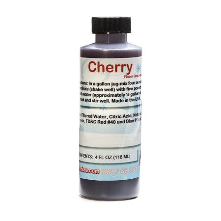 Cherry Shaved Ice and Snow Cone Flavor Concentrate 4 Fl Ounce Size