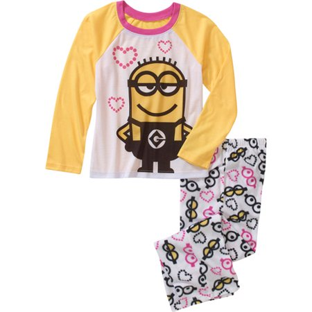 Image of Despicable Me 2 Girls I love Minions Xs- Xl 2 Pc Pajama Set Sleepwear (M 7/8)