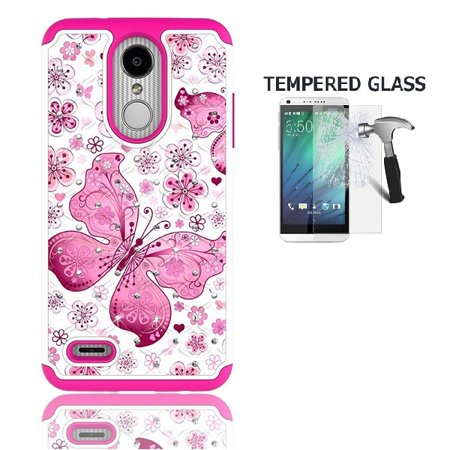 AT&T Prepaid LG Phoenix 4 Case, Phone Case for Straight Talk LG Rebel 4 Prepaid Smartphone, Studded Rhinestone Diamond Bling Cover Case + Tempered Glass Screen Protector (White-Pink Butterfly) Design Rhinestone Protector Case