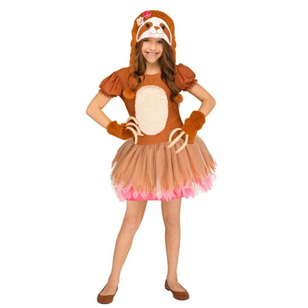 Sassy Sloth Girls Child Cute Brown Animal Halloween Costume (Sloth Animal Halloween Costume)