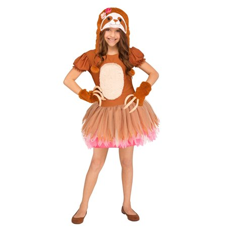 Sassy Sloth Girls Child Cute Brown Animal Halloween Costume](Cute Halloween Chibis)