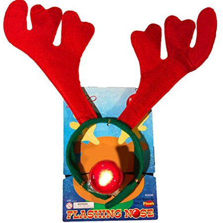 Christmas Holiday Reindeer Antlers Headband w/ Flashing Nose