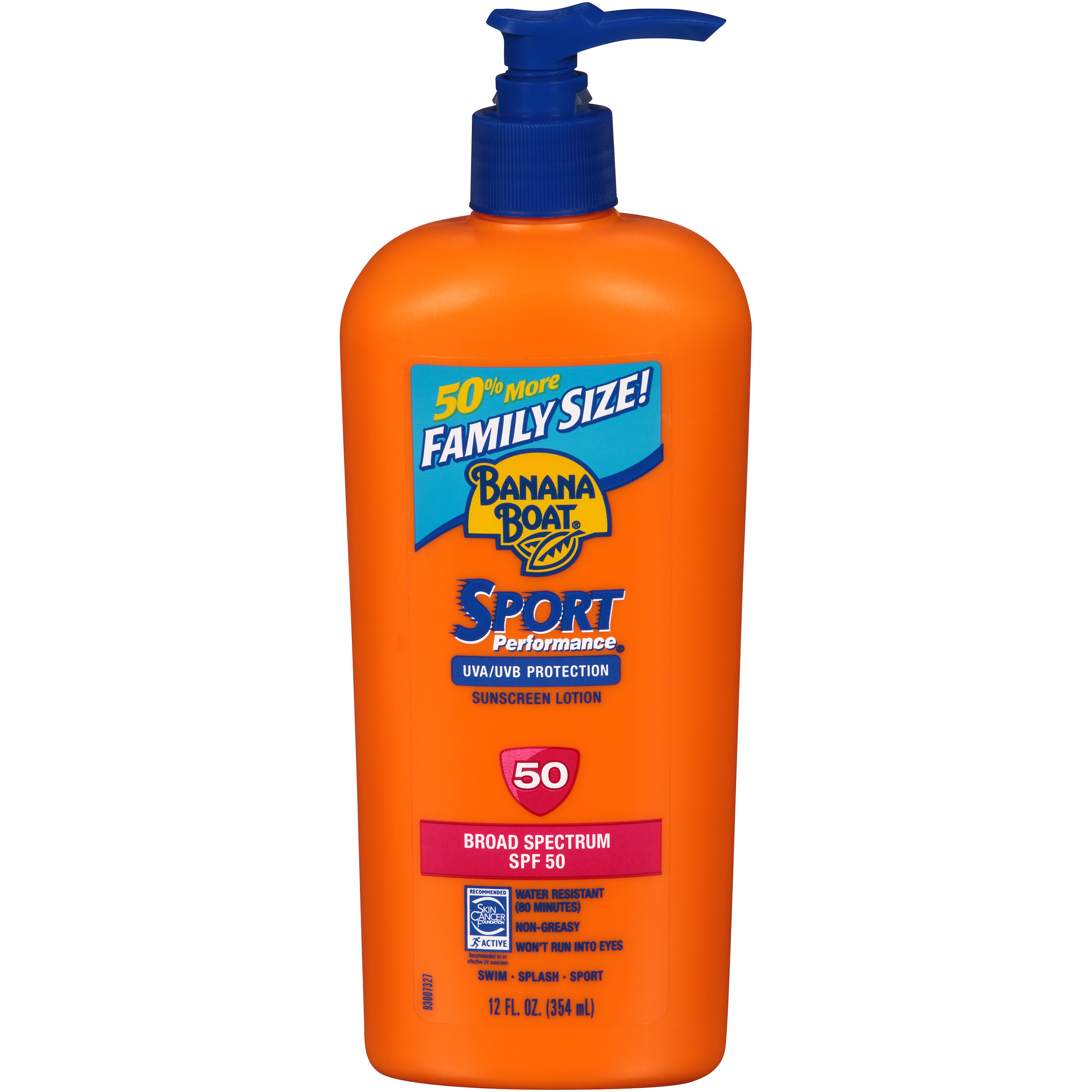 Banana Boat Sport Performance Lotion Family Size Sunscreen Broad Spectrum SPF 50 - 12 Ounces