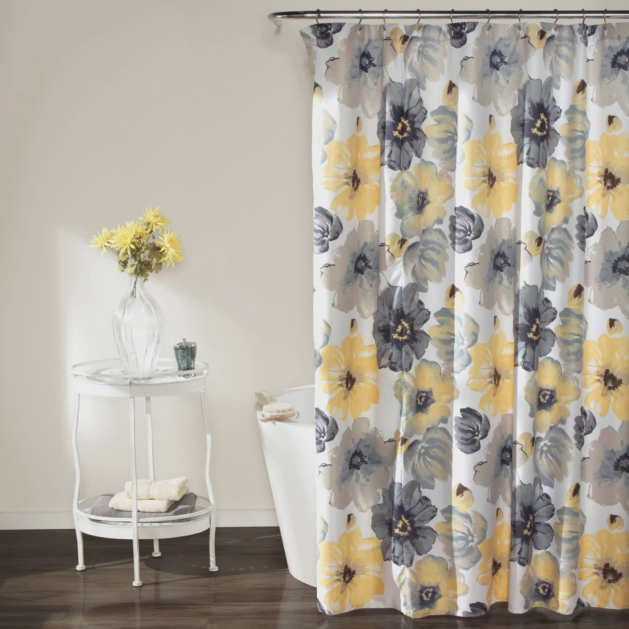 Leah Shower Curtain, Yellow and Gray - Walmart.com