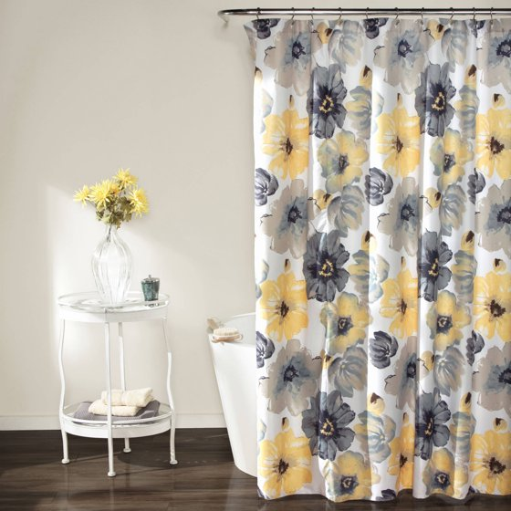 Kitchen Curtains Yellow And Gray: Leah Shower Curtain, Yellow And Gray