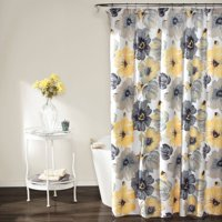"""Leah Shower Curtain 72"""" x 72"""", Floral Yellow and Gray"""