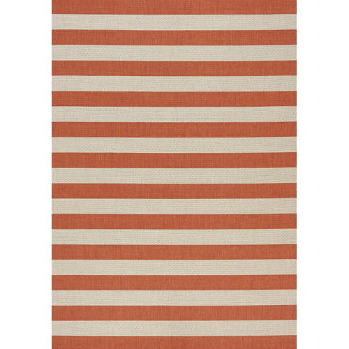 Kalora Coast Stripes Flatweave Cream/Orange Indoor/Outdoor Area Rug