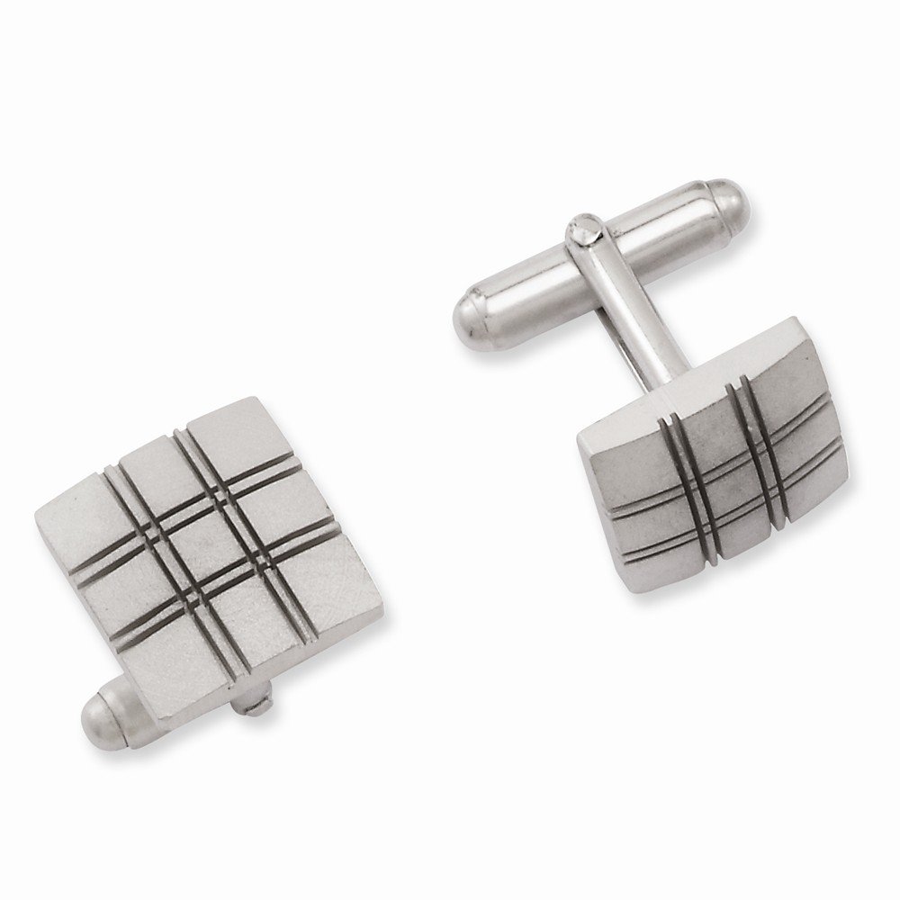 Rhodium-plated Square Double Lines Cuff Links