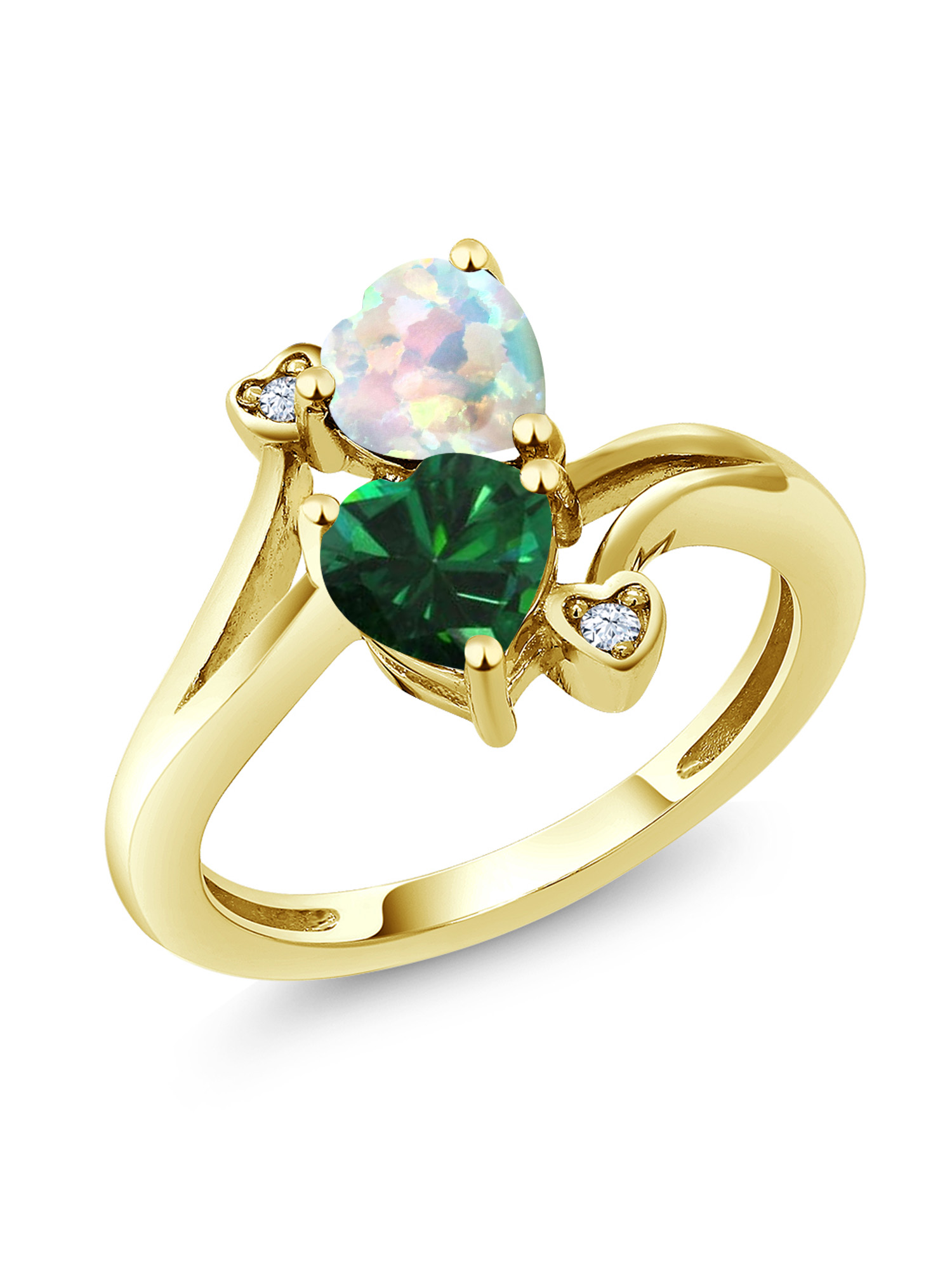 1.46 Ct Green Simulated Emerald White Simulated Opal 10K Yellow Gold Ring by