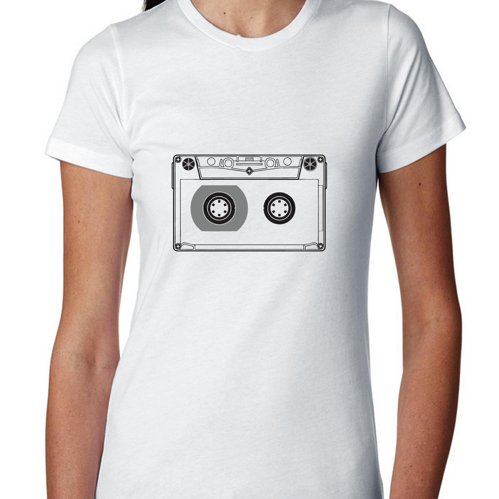 Classic 80s Cassette Tap Silhouette - Cool Women's Cotton T-Shirt