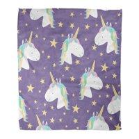 KDAGR Flannel Throw Blanket Colorful Cute Mugical Unicorns Horse Head for Child Books Pink Kids 50x60 Inch Lightweight Cozy Plush Fluffy Warm Fuzzy Soft