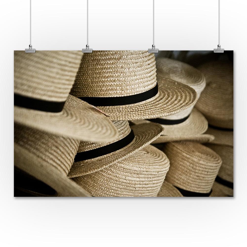 Amish Hats - Lantern Press Photography (36x54 Giclee Gall...