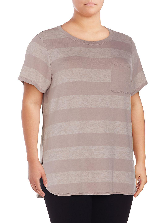 Plus Striped Short Sleeve Top