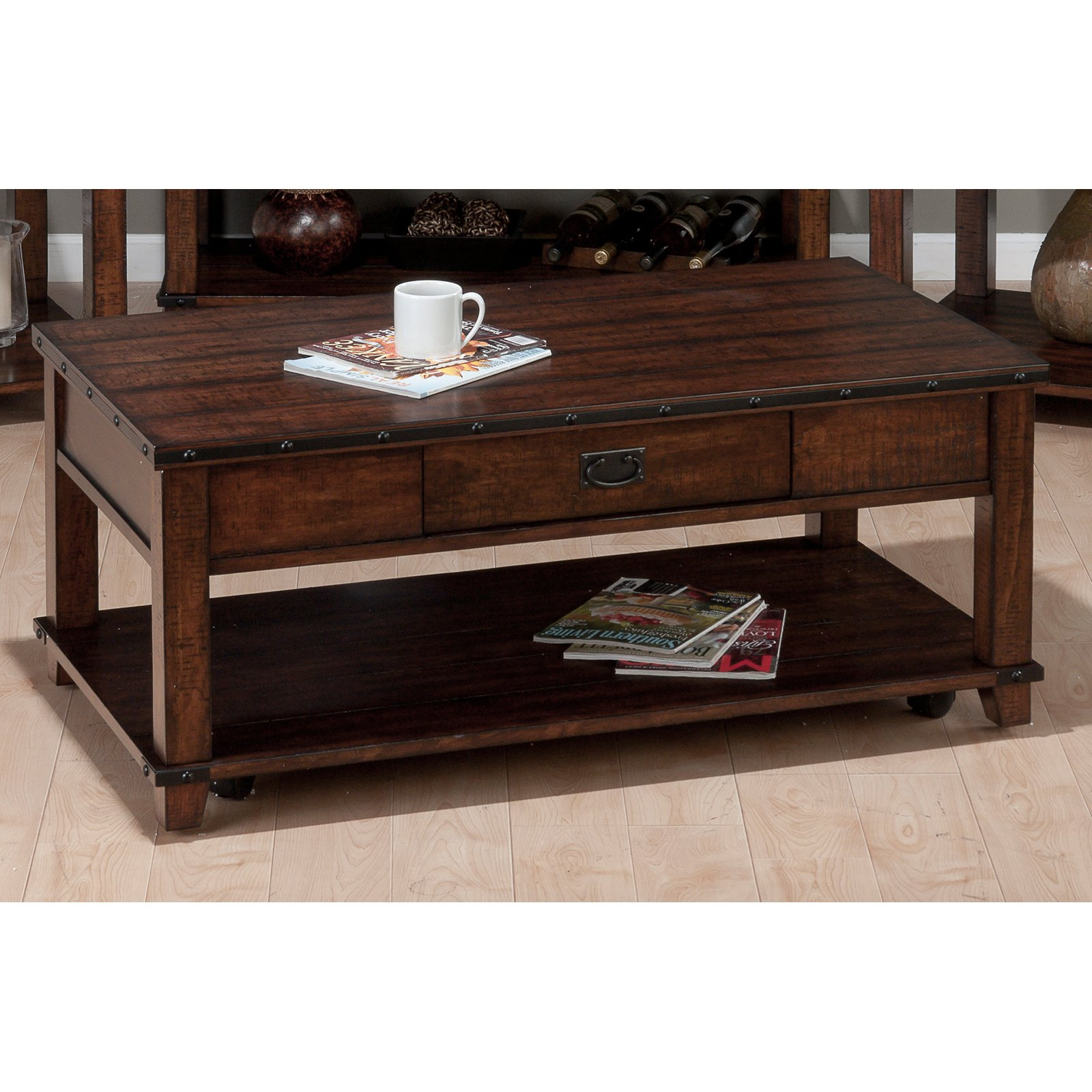 Jofran Cassidy Cocktail Table Burnished Brown Walmart Com