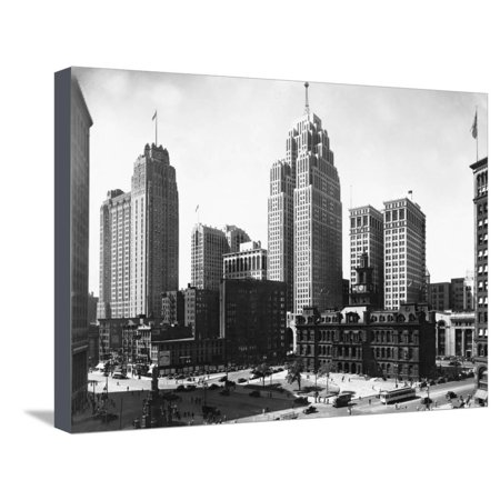 Mall Street in Detroit, Michigan Cityscape Black and White Photography Stretched Canvas Print Wall (Outlet Mall In Michigan)