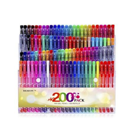 Reaeon 200 Gel Pens Coloring Set 100 Gel Pen plus Refills for Adults Coloring...