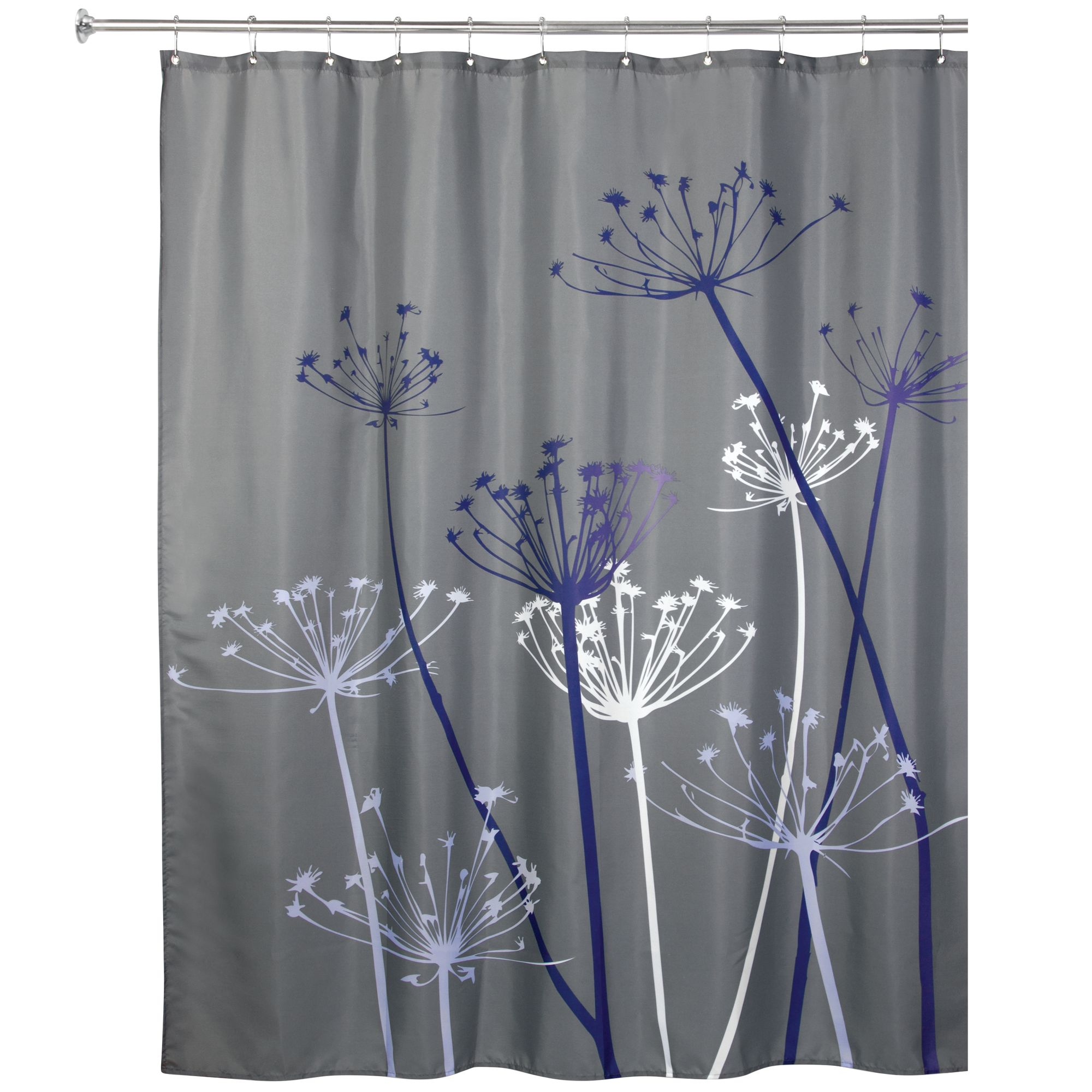 Interdesign Thistle Fabric Shower Curtain Standard 72 X 72 Gray Purple