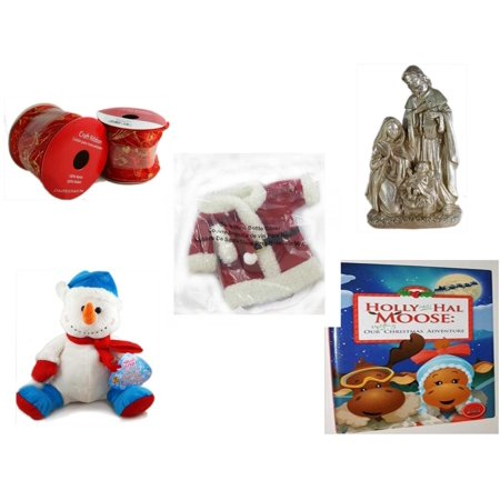 Christmas Fun Gift Bundle [5 Piece] - 2 Rolls Red and Gold Craft Ribbon 2.5 in. x 9 ft. - Silver Glitter Nativity Scene - 2011 Avon Santa Outfit Wine Bottle Cover  - Snowman  12