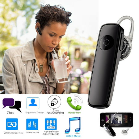 TSV Bluetooth Headset 4.0 Hands Free Wireless Earpiece Sweatproof Noise Cancelling In-ear Earbuds With Mic. (Black) Earbud Hands Free Kit