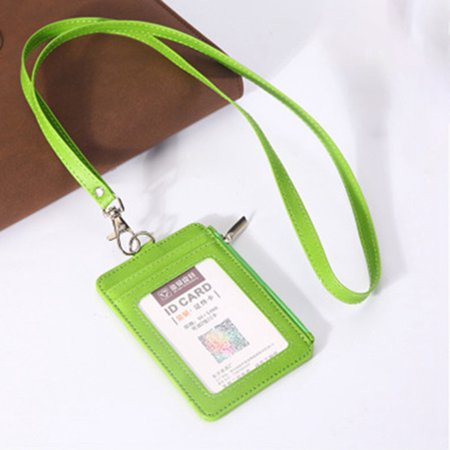 Fancyleo Work Permit Tag ID Card Holder With Zipper Bag PU Leather Credit Card Lanyard Student ID Credit Card Business Organizer (Apply For Student Credit Card With No Credit)