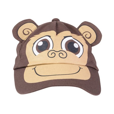 Kids Adjustable Brown Monkey Animal Zoo Baseball Cap Costume Hat (Monkey Hats)