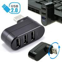 TSV Mini 3 Port USB 2.0 Rotating Splitter Adapter Hub For PC Laptop Notebook Mac