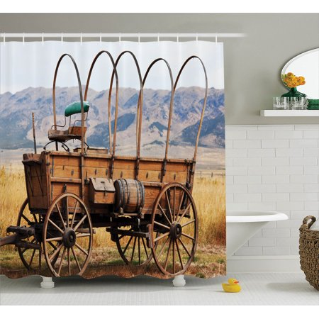 Western Decor Shower Curtain Set, Photo Of Old Nostalgic Aged Wild West American Cart Carriage In The Farm Texas Style, Bathroom Accessories, 69W X 70L Inches, By Ambesonne - Old Western Decor