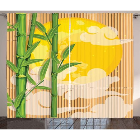 Asian Curtains 2 Panels Set, Bamboo Tree Branches Full Moon and Abstract Curvy Clouds Stars Eastern, Window Drapes for Living Room Bedroom, 108W X 108L Inches, Yellow Green Pale Brown, by