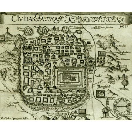 Antique Map of Jerusalem - Black & White Poster Print