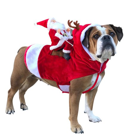 Dog Wedding Outfits (Running Santa Christmas Pet Costumes,Santa Dog Costume Dog Apparel Party Dressing up Clothing for Small Large Dogs Cats Clothes Pet)