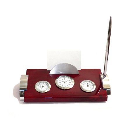 Bey-Berk Rosewood and Metal Weather Station with Card Holder Clock and Pen ()