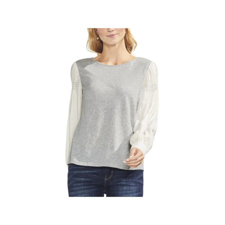Vince Camuto Womens Smocked Mixed Media Pullover Top