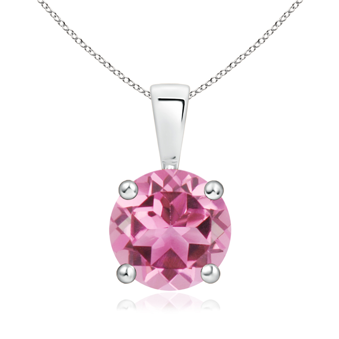 Prong Set Round Pink Tourmaline Solitaire Pendant in Silver (8mm Pink Tourmaline) SP0108PT-SL-AAA-8 Angara Necklace... by Angara.com